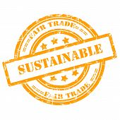 Sustainable, Fair Trade. Rubber Stamp, Grunge, Circle