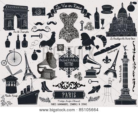 Paris Landmarks Symbols and Icons