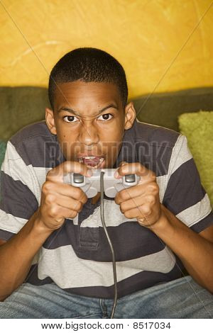 poster of African-american Male Playing Video Games