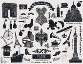Постер, плакат: Paris Landmarks Symbols and Icons Set of over 40 design elements themed around France and Paris