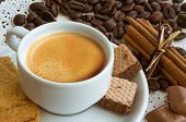 pic of cinnamon  - a cup of coffee with coffee beans and cinnamon sticks - JPG