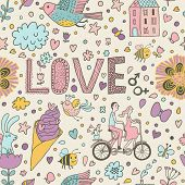 stock photo of tandem bicycle  - Stylish romantic seamless pattern with lovers - JPG