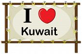 picture of kuwait  - I love Kuwait in wooden frame - JPG
