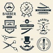 picture of barber  - Barber shop logo labels badges vintage vector set - JPG