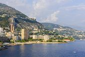 stock photo of ward  - Mediterranean sea coast with view of Larvotto ward and beach in Monaco - JPG