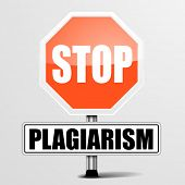 stock photo of plagiarism  - detailed illustration of a red stop Plagiarism sign - JPG