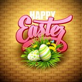 image of easter flowers  - Easter greeting with eggs and flowers - JPG