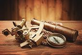 foto of spyglass  - vintage  still life with compass - JPG