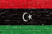 foto of libya  - flag of Libya painted on brick wall - JPG