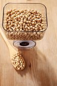 pic of soy bean  - weighing the amount of soy beans - JPG