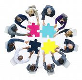 picture of jigsaw  - Business People Connection Corporate Jigsaw Puzzle Concept - JPG
