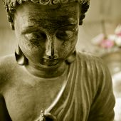 stock photo of buddha  - closeup of a buddha with flowers in the background as offerings - JPG