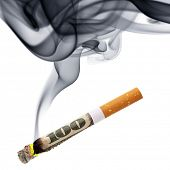 stock photo of tobacco smoke  - Costs of smoking  - JPG