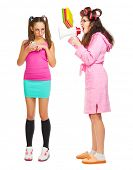 foto of anger  - Anger mother screams to her daughter isolated - JPG