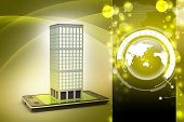 pic of smart grid  - smart phone with real estate concept in color background - JPG