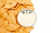picture of nachos  - weighing scales against nachos placed around a bowl of dip - JPG