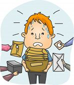 pic of overwhelming  - Illustration of a Tired and Sweaty Messenger Overwhelmed by Packages - JPG