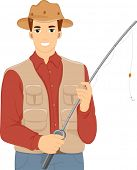 image of rod  - Illustration of a Man Holding in a Vest and Matching Hat Holding a Fishing Rod - JPG
