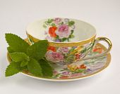Tea Cup With Mint Leaf