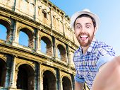 pic of selfie  - Happy young man taking a selfie photo in Rome - JPG