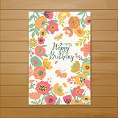 stock photo of butterfly flowers  - Fabulous happy birthday card in vector - JPG