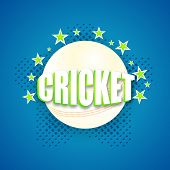 stock photo of cricket ball  - Stylish text Cricket with white ball on stars decorated blue background - JPG