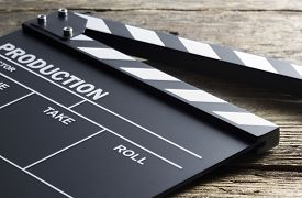 picture of clapper board  - Movie clapper on wood background - JPG