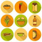 picture of nachos  - Set of cute cartoon hand drawn shadow icons on mexican food theme - JPG