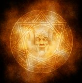 picture of sorcery  - Satanic goat horned devil materialising at the centre of a fiery occult symbol - JPG