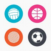 stock photo of volleyball  - Circle buttons - JPG