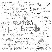 Albert Einstein Law Theory And Physics Mathematical Formula Equation, Doodle Handwriting Icon In Whi poster