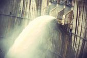 picture of dam  - closeup of dam discharge flood water china - JPG