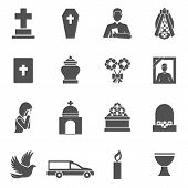 pic of priest  - Funeral black icons set with cross coffin priest wreath isolated vector illustration - JPG