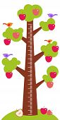 stock photo of measuring height  - Big tree with green leaves birds and red apples on white background Children height meter wall sticker kids measure - JPG