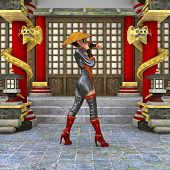 picture of battle  - 3D digital render of a beautiful Asian battle woman on a traditional temple background - JPG