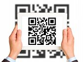 picture of qr codes  - Businessmans hands holding picture with QR - JPG