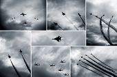 picture of afterburner  - Retro black and white collage of aircraft shows - JPG