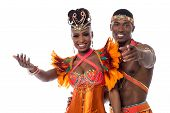 stock photo of samba  - Happy samba dancers posing together on white background - JPG