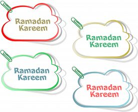 foto of ramadan calligraphy  - Arabic Islamic calligraphy of text Ramadan Kareem stickers label tag set - JPG