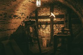 stock photo of torture  - Torture Chamber in Niedzica Castle Located in Lesser Poland Europe - JPG
