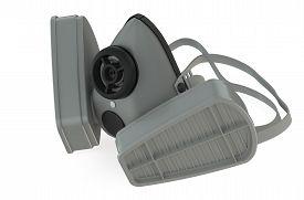 stock photo of respirator  - single respirator closeup isolated on white background - JPG