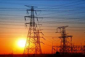 image of electricity pylon  - The evening electricity pylon silhouette - JPG