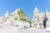 Masarykova Cottage, Orlicke Mountains in winter, Czech Republic