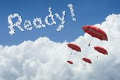 Many Red Umbrella Floating Above Against Blue Sky And Cloud.sunny Day.cloudscape.close Up The Cloud. poster