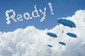 Many Blue Umbrella Floating Above Against Blue Sky And Cloud.sunny Day.cloudscape.close Up The Cloud poster