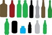 various bottle types - vector