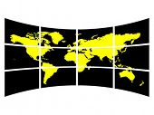 World map on screen vector illustration