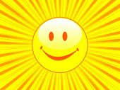 Happy face with sunbeam - vector illustration