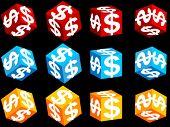 cubo 3D com o símbolo do dólar nele