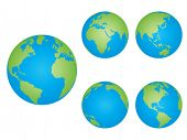 World globes in different positions